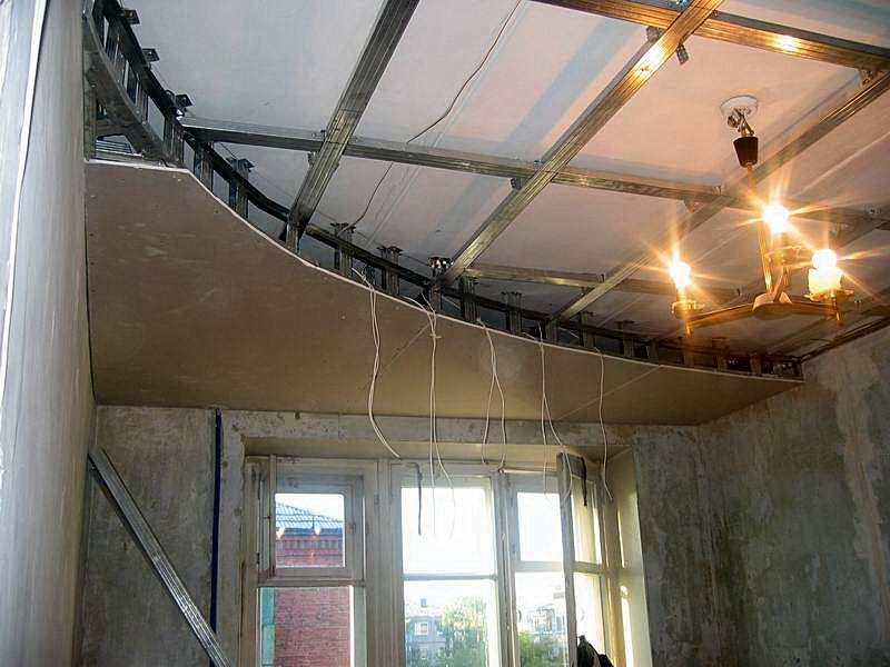 Как сделать из гипсокартона волну на потолке